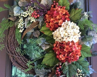 Autumn Wreath, Fall Wreath, Elegant Wreath, Front Door Wreath, Hydrangea Wreath