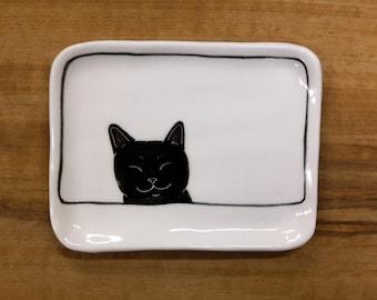 Hand made & animal painted Versatile dish - Soap Dish - Jewelry Dish - Ceramic Dish - Cat Dish - Cute Cat - black cat