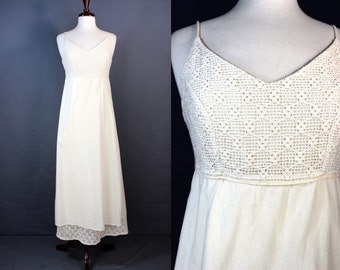 Cream Cotton Paneled Mexican Maxi Summer Dress With Crocheted Top
