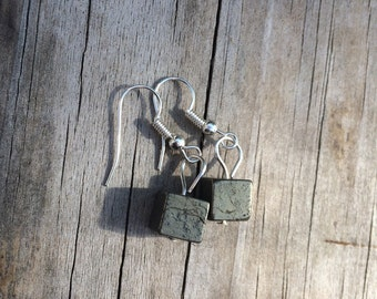 Pyrite Square Earrings, Pyrite Earrings fools gold Earrings