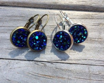 Dark Blue Druzy Earrings, Faux Druzy Earrings, Bridal Druzy, Leverback Earrings