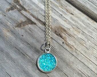 Blue Druzy Necklace, Charm Necklace