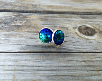 Dark Blue Mermaid Stud Earrings, Mermaid Earrings, Nautical, Studs Earrings