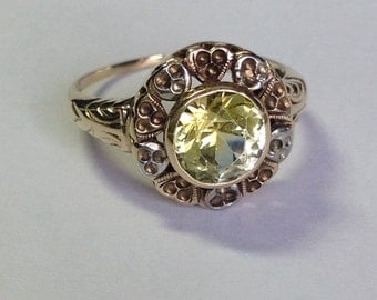 Vintage Mid Century 10k Yellow and White Gold Yellow Stone Ring