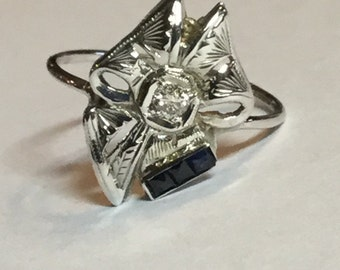 Vintage Art Deco Filigree Bow Ring With Diamond and Sapphires 10 and 14k White Gold