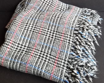 Acrylic Black White Plaid with Red and Blue Line Through Fringed Throw Blanket