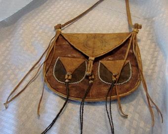 Sicangu Lakota Tribe (Sioux) Parfleche Bag With Pockets - Sioux American Indian Bag