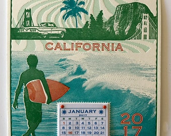 2017 Majestic California Wall Calendar featuring Surfer, Redwoods, a Chevy, El Capitan, Golden Gate. Handmade letterpress in 4 colors!