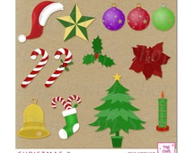 Digital Christmas clipart. Images of Candy Canes, Candle, Poinsettia, Holly, Star and Ornaments. For cards & scrapbooking.  Instant Download