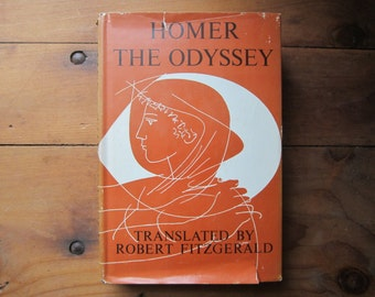 Hardcover The Odyssey, Homer, 1961 book, Translated by Robert Fitzgerald, Doubleday book publishing, vintage book, the odyssey, odyssey book