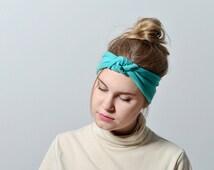 Yoga Headband, Namaste headband, Running Headband, Fitness Headband, Fitness Apparel, knot headband adult, Teal headwrap, fitness apparel