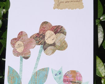 Snail and Flowers You Are Missed greeting card (free shipping)