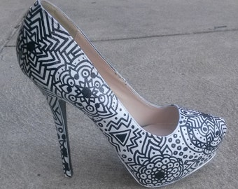 Coloring Book Shoes / Coloring Book Heels / Black & White Heels / Hand Painted Heels / Coloring Pumps / Mandala Pumps / Painted Heels