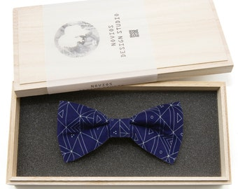 Blue Track Bowtie - Modern Boys Bowtie, Toddler Bowtie Toddler Bow tie, Groomsmen bow tie, Pre Tied and Adjustable Novioshk, H0184