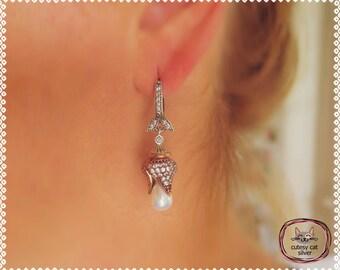 Turkish Sterling Silver Pearl Earrings/ Ottoman Tulip Shaped Pearl Earrings