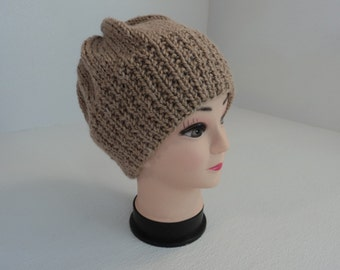 Handcrafted Beanie Slouchy Hat Wheat Textured Acrylic Alpaca Blend Female Adult