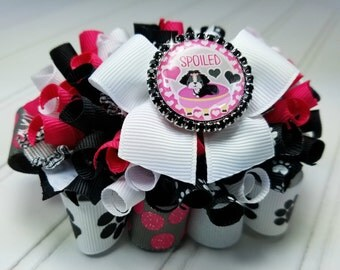 Funky Loopy Bow - Spoiled - Pup - Black, White, Grey, Pink - READY TO SHIP