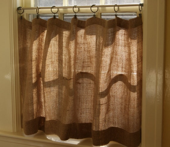50 Wide Natural Burlap Cafe Curtains /country Farmhouse