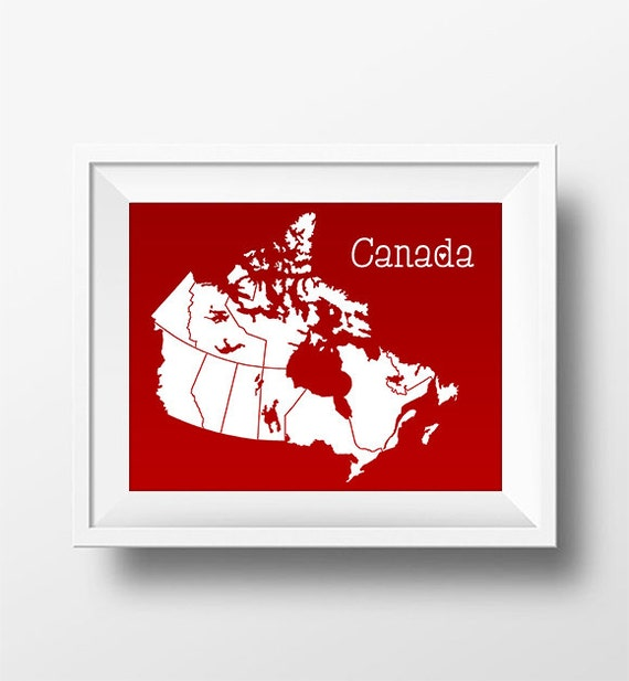Canada Map Home Decor Print Canada Map 8x10 Inch Wall Print