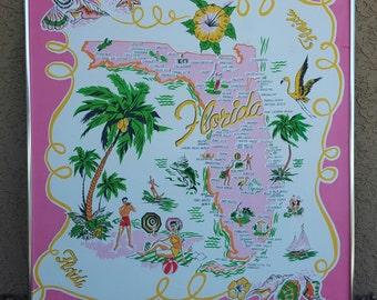 Vintage Framed Florida Novelty Scarf