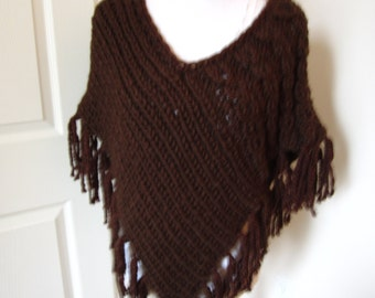 Chunky Poncho, Knit Poncho, Brown Poncho, Winter Wrap, Cabled Poncho, Fringed Poncho