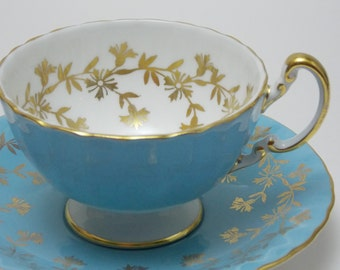 Aynsley Blue Gold Flower Tea Cup and Saucer Vintage Fine Bone China Made in England