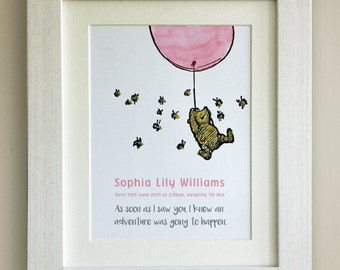 PERSONALISED Winnie the Pooh Quote Print, New Baby, Nursery Picture Gift, Pooh Bear, *UNFRAMED* Beautiful Gift, Pink Balloon