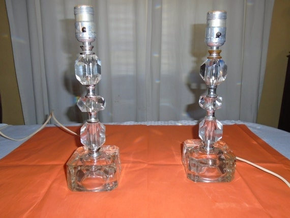 Vintage Small Table Lamps Cut Glass Table Lamps Glass