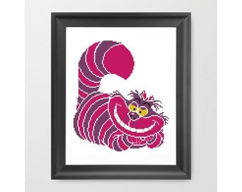 Cheshire Cat Pattern, Funny Animal Pattern, Alice in Wonderland, Cross Stitch Cat Pattern, Cross Stitch For Children, PDF - PATTERN ONLY