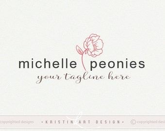 Peony logo, Photography logo, Premade logo design, Flower logo, Boutique logo, Stylish watermark 445