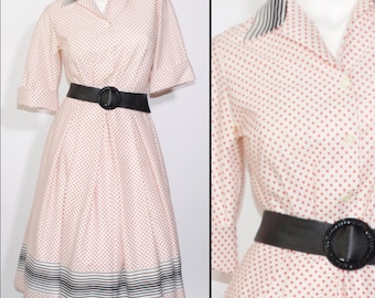 50's Vintage House Dress with Square Pattern
