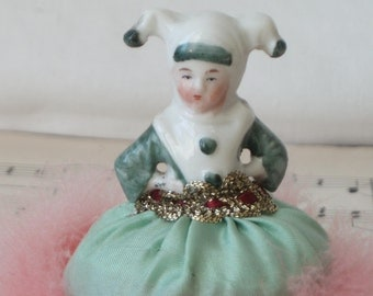 Jester Powder Puff Doll . Jester Sew on Doll . Jester Half Doll 1920's .  1920's . Swans Down Powder Puff . Half Doll .