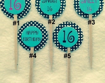 Set Of 12 Customized Sweet 16 Cupcake Toppers (Your Choice Of Any 12)