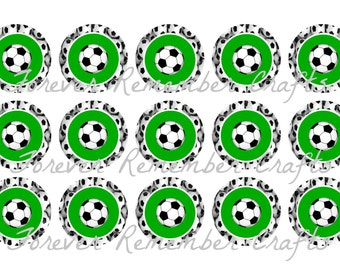 INSTANT DOWNLOAD Soccer Ball Bottle Cap Image Sheets *Digital Image* 4x6 Sheet With 15 Images