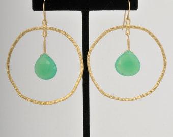Chrysoprase Hammered Hoop Earrings 14k Gold Plated