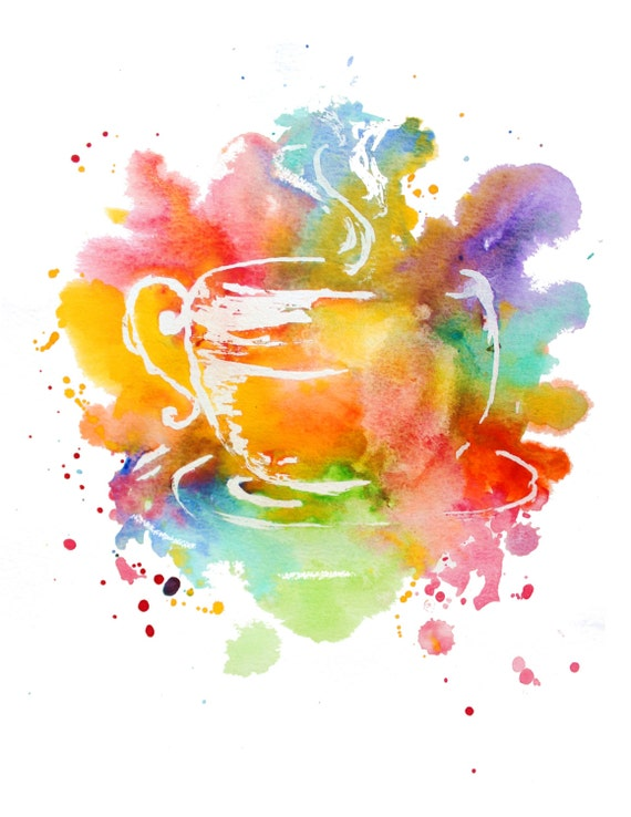 Colorful coffee cup printcolorful watercolor design for Coffee watercolor