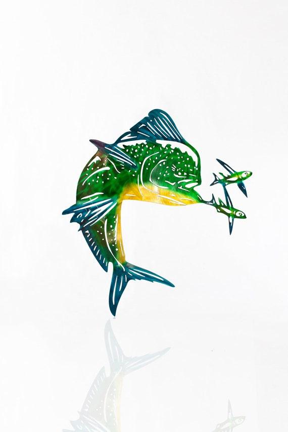 Metal Mahi, Mahi Metal Art, Metal Wall Decor, Metal Fish Decor, Fishing Art, Mahi Mahi Wall Art, Gift for Husband, Gift for Father