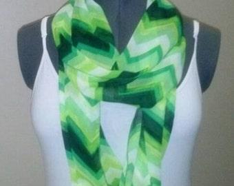 108G Green with Envy, Green Chevron Infinity scarf, Wrap, White, Yellow, Chartreuse, Chiffon