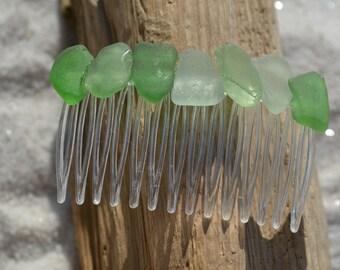 Green Sea Glass Hair Comb