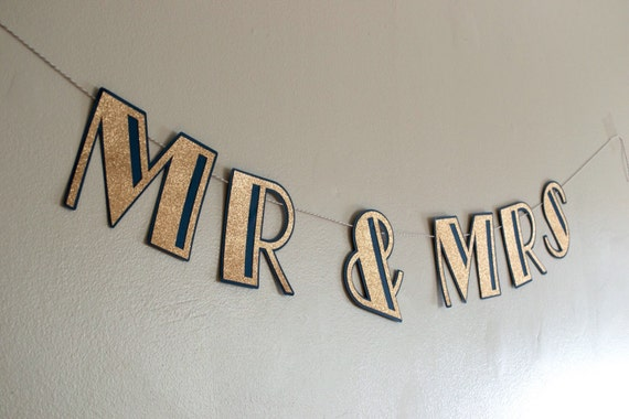 Navy and Gold - Mr and Mrs Art Deco Banner - Mr and Mrs Old Hollywood Banner - Mr and Mr Banner - Mrs and Mrs Banner