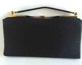 Vintage Andé Black Satin Evening Clutch Hand Bag with Gold Tone Hardware