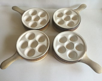 Set of 4 Porcelain Snail/Escargot Dishes with Handles
