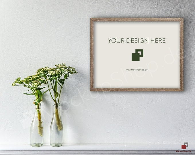SHABBY WOOD FRAME Mockup Scene Smart Object / Set of 3 Scene / horizontal / green flowers in a bottle photo frame mockup scene creator