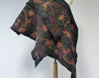 Beautiful irregular felted scarf, one of a kind. Perfect for autumn; warm and fashion together.