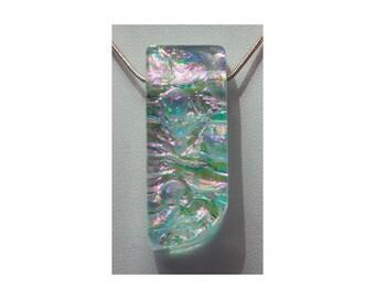 Small Dichroic Pendant - Aqua Dichroic Pendant, Pink Dichroic Pendant, Dichroic Glass Pendant, Dichroic Necklace, Glass Necklace