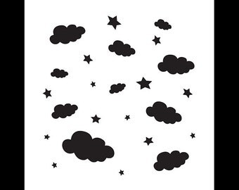 Cloudy Night - Art Stencil - Select Size - STCL1122 - by StudioR12