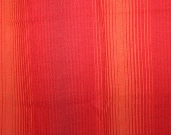 Stunning 70s vintage retro pair of red / orange striped Christmas Curtain lengths. Made in Sweden Scandinavian.