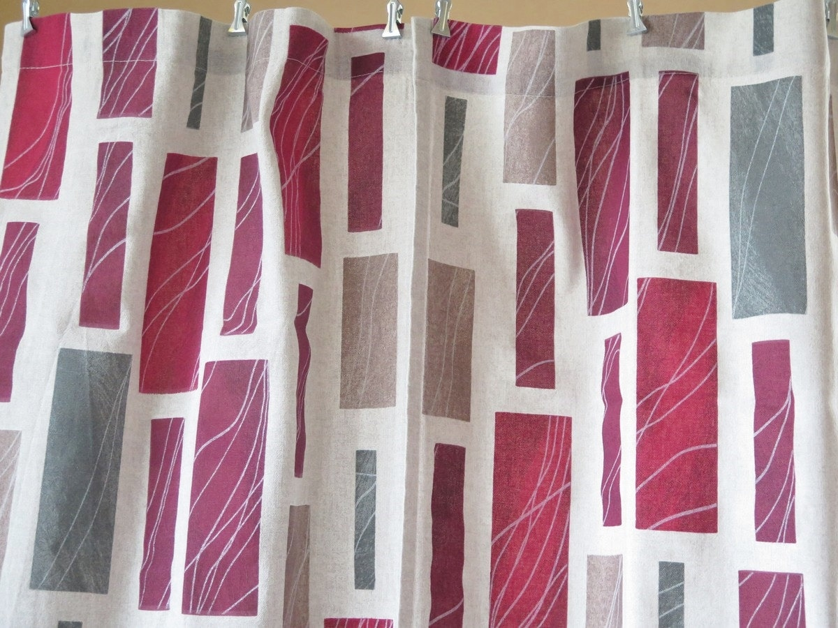 Set of 2 Curtain Panels Fabric Burgundy Gray Beige