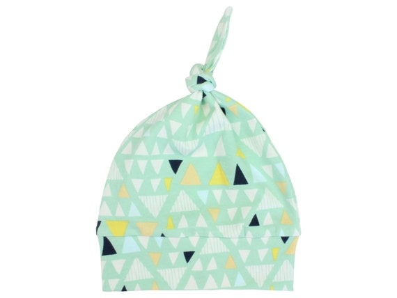 Top Knot Mint Triangle Boy Baby Beanie Hat Unisex Mint Triangle Baby Newborn Beanie Toddler Slouch Beanie Baby Gift Stretch Knit Infant