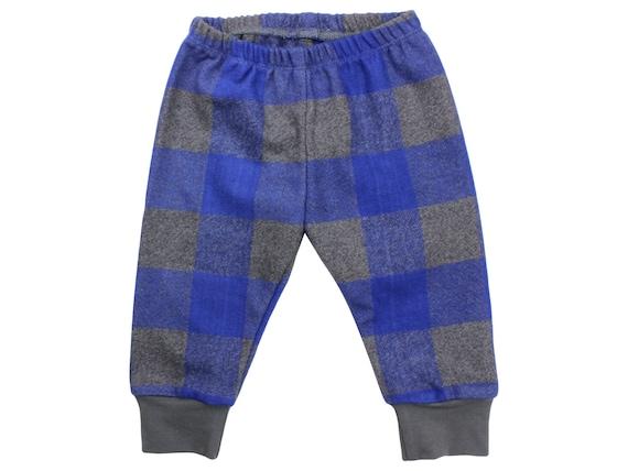 Blue & Gray Buffalo Plaid Flannel Boy Pants Toddler Pants Fall Winter Pants Blue Baby Leggings Buffalo Check Blue Buffalo Plaid Baby Legging